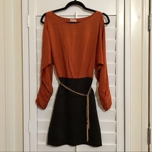 Black & Rust Orange Dress